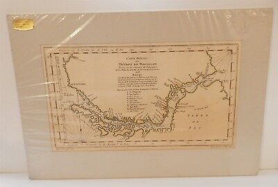 Antique 1753 Matted Map Straits of Magellan Carte Reduite Du Detroit de Magellan