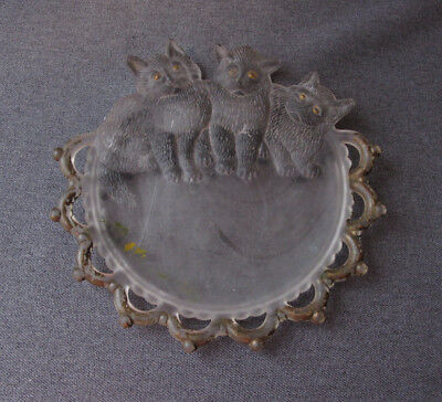 Antique Cute Reverse Paint 3  Cats Kitten Trio Frosten Glass Cards Tray  #2