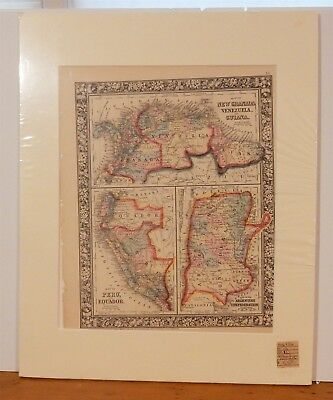 Antique 1860 South America Composite Atlas Map of 5 Countries Mitchell