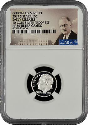 2017 S Silver Roosevelt Dime Proof From 10-Coin Silver Set NGC PF70 Ultra Cameo