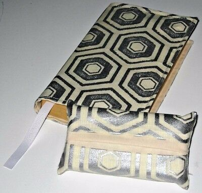 Fabric Paperback Book Cover & Matching Pocket Tissue Holder Silver Pentagon