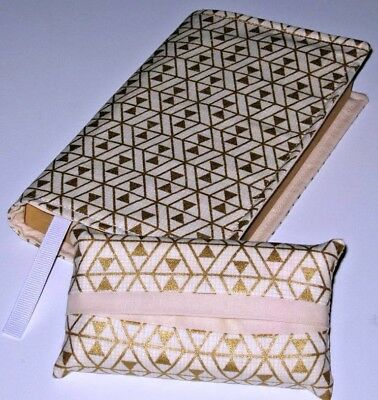 Fabric Paperback Book Cover & Matching Pocket Tissue Holder Gold Diamond Print 2