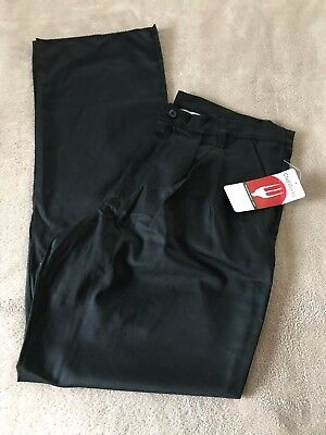 "Nwt Chef Works Pleated Front Trousers Poly Cotton Pants Black 36"" Unhemmed"