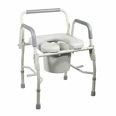 Drive 11125PSKD-1 Steel Drop Arm Bedside Pediatric Commode Padded Seat and Arms