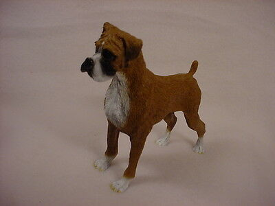 BOXER Dog HAND PAINTED FIGURINE Resin Statue Collectible UNCROPPED Brown Puppy