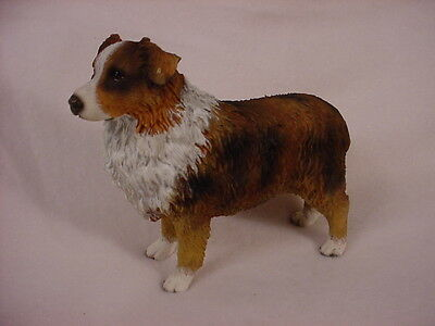 AUSTRALIAN SHEPHERD dog HANDPAINTED FIGURINE Resin Statue BROWN DOCKED AUSSIE