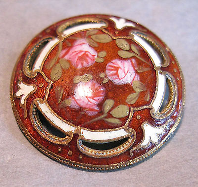 Victorian Large Pierced Enamel Button Of Roses 28Mm Vgc