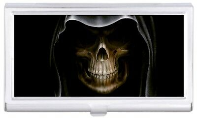 Grim Reaper Death Up Close Business Card Case Holder Polished Finish NEW COOL!