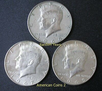 Lot of 3   Coins RANDOM YEARS 50 Cent 40% Silver KENNEDY