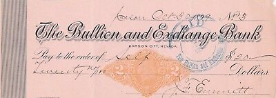 The Bullion And Exchange Bank, Carson City, Nevada  1899  With Revenue