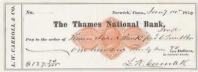 The Thames National Bank, Norwich, Conn.  1874   With Revenue