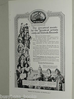 1918 Victor Records advertisement page, VICTOR Talking Machine Co, singers opera
