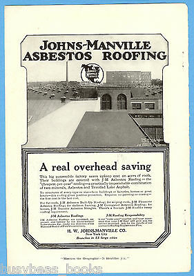 1917 JOHNS-MANVILLE advertisement, ASBESTOS Roofing, White Co. Cleveland