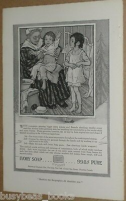1915 IVORY Soap advertisement, Alice Beach Winter painting children dressing