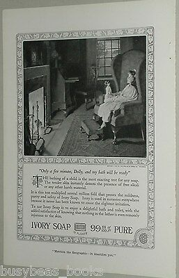 1918 Ivory Soap advertisement, young girl and doll by a Colonial fireplace