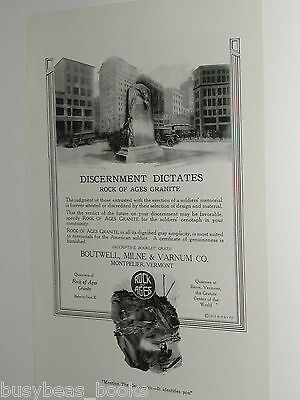 1920 Rock of Ages advertisement, WWI Soldiers Memorial monument