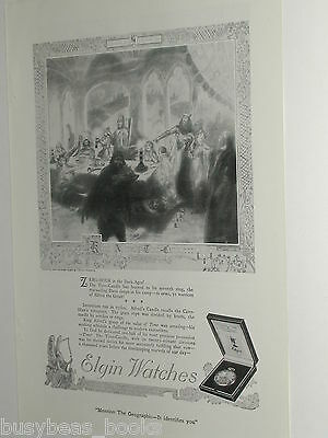 1920 Elgin Watch advertisement, Alfred the Great, time candle