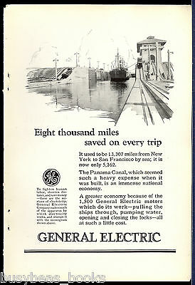 1924 General Electric advertisement, PANAMA CANAL electric motor usage