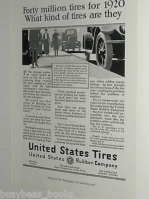 1920 United States Tires advertisement page, US Rubber Co. parked antique cars