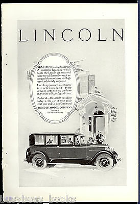 1926 LINCOLN advertisement, large Lincoln sedan, fancy house