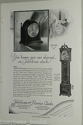 1929 Telechron & Revere Clocks advertisement, electric clock