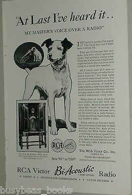 1932 RCA Victor advertisement, R-78 radio, Nipper the dog, Masters Voice