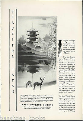 1930 JAPAN TOURISM advertisement, pagoda scene, promoting travel to Japan