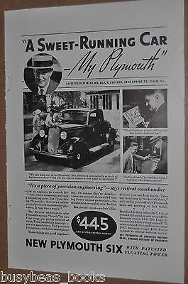 1933 Plymouth advertisement, PLYMOUTH SIX coupe photo, washing car