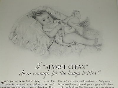1930 Hoover vacuum cleaner ad, baby, Maud Tousey Fangel