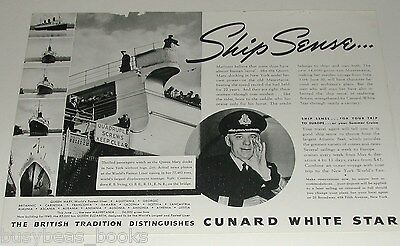 1939 CUNARD White Star Lines advertisement, Queen Mary Cmdr. Irving, docking NYC