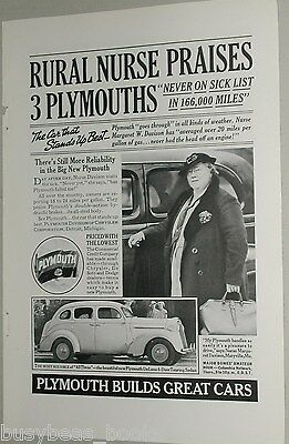 1937 Plymouth advertisement, Chrysler Plymouth DeLuxe Touring Sedan