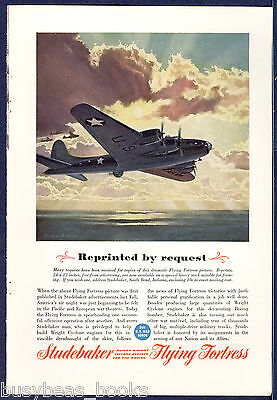 1943 Studebaker advertisement, BOEING Flying Fortress, WWII