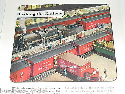 1943 Pennsylvania RR advertisement, freight terminal, red PENSSY  box cars