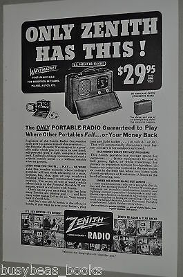 1940 Zenith advertisement for ZENITH Universal Portable Radio with WaveMagnet