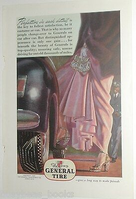 1946 General Tire ad, lady's high heel shoes, ball-gown