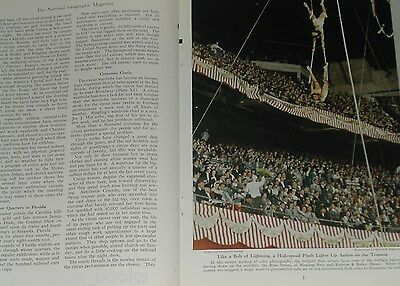 1948 magazine article on The CIRCUS, color photos, Big Top, Clowns, animals etc