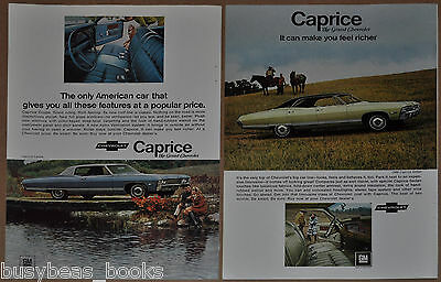 1968 Chevrolet CAPRICE advertisements x2, CHEVY Caprice Sedan