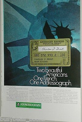 1970 Addressograph advertisement, AMERICAN EXPRESS Credit Card Statue of Liberty