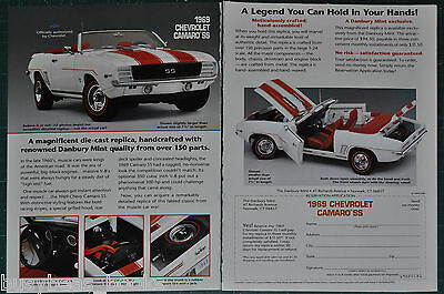 1989 Danbury Mint 2-page advertisement for 1969 CHEVROLET CAMERO model