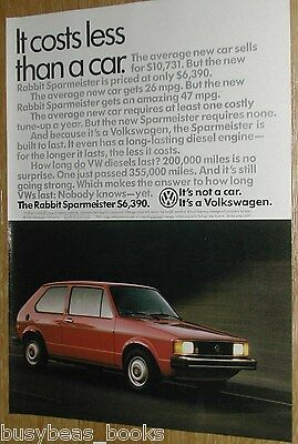 1984 Volkswagen RABBIT advertisement page, VW Rabbit Sparmeister, diesel