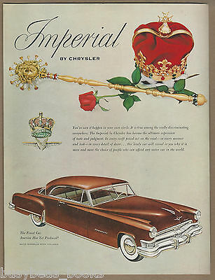 1952 CHRYSLER IMPERIAL advertisement, red hardtop coupe large size advert