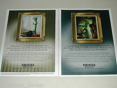 2010 Geico Insurance advertisements x2, with Mr. GECKO, framed portraits