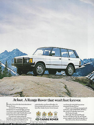 1991 RANGE ROVER advertisement, Range Rover Great Divide Edition, Land Rover