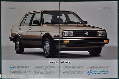 1988 VOLKSWAGEN JETTA 2-page advertisement, VW ad, Jetta 4-door, Roads Scholar