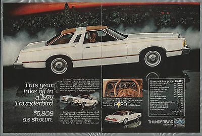 1978 FORD THUNDERBIRD 2-page advertisement, Ford T-Bird ad, big white 2-door