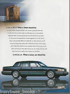 1990 LINCOLN TOWN CAR advertisement, Ford Lincoln, with Louis XIV closet