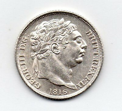 1816 Sixpence, George Iii Laureate Head, High Grade