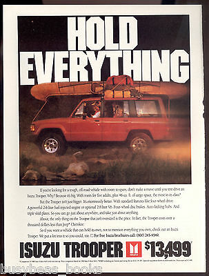 1990 ISUZU TROOPER advertisement, Trooper 4x4 with canoe etc on top