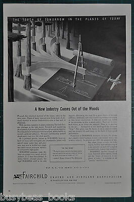 1943 FAIRCHILD Airplane advertisement Duramold plywood for airplane construction