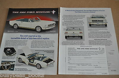 1991 Danbury Mint Mustang 2-page advertisement for 1966 Ford MUSTANG model